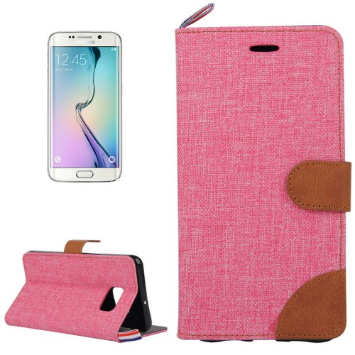 For Galaxy S6 Edge Red Denim Flip Leather Case with Holder & Card Slots