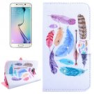 For Galaxy S6 Edge Feathers Leather Case with Holder, Wallet & Card Slots