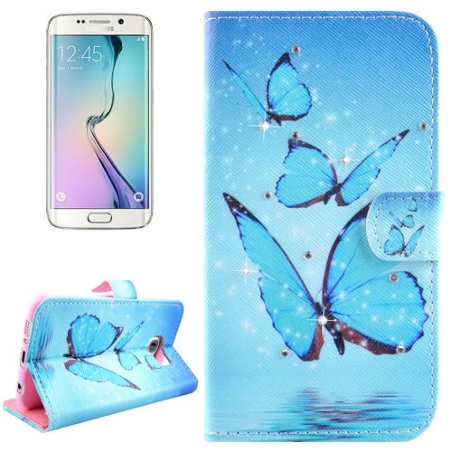 For Galaxy S6 Edge Butterflies Leather Case with Holder, Wallet & Card Slots