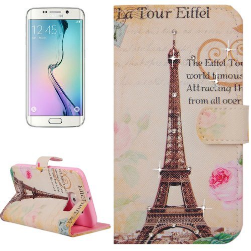 For Galaxy S6 Edge Eiffel Tower Leather Case with Holder, Wallet & Card Slots