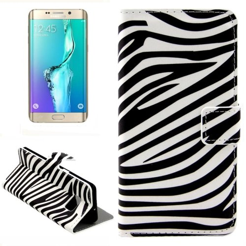 For Galaxy S6 Edge Zebra Leather Case with Holder, Wallet & Card Slots