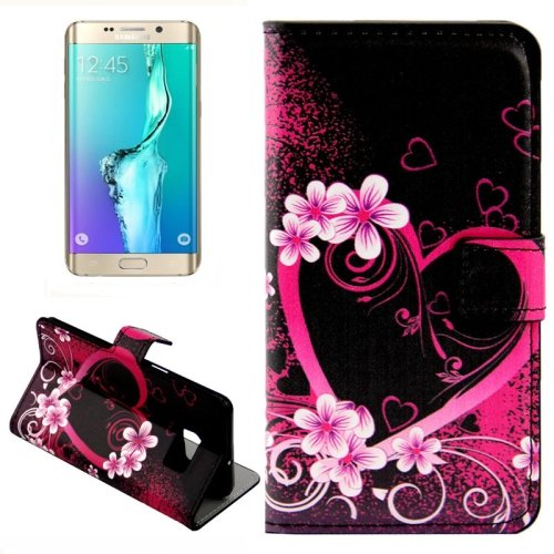 For Galaxy S6 Edge Heart Leather Case with Holder, Wallet & Card Slots