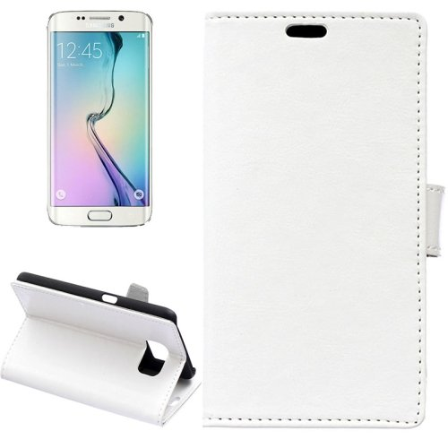 For Galaxy S6 Edge White Crazy Horse Case with Holder, Wallet & Card Slots