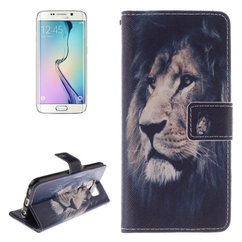 For Galaxy S6 Edge Lion Pattern Leather Case with Holder, Card Slot & Wallet