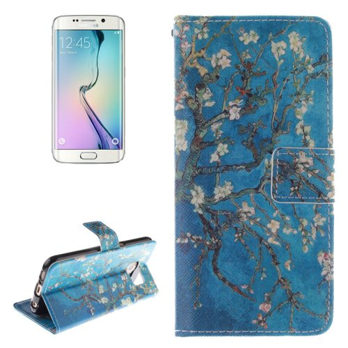 For Galaxy S6 Edge Plum Pattern Leather Case with Holder, Card Slot & Wallet