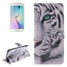 For Galaxy S6 Edge Tiger Pattern Leather Case with Holder, Card Slot & Wallet