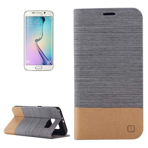 For Galaxy S6 Edge Dark Gray Canvas Flip Leather Case with Card Slot & Holder