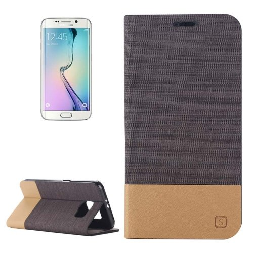 For Galaxy S6 Edge Coffee Canvas Flip Leather Case with Card Slot & Holder