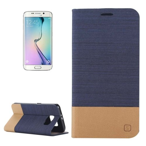 For Galaxy S6 Edge Dark Blue Canvas Flip Leather Case with Card Slot & Holder