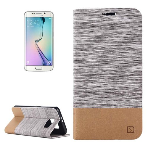 For Galaxy S6 Edge Gray Canvas Flip Leather Case with Card Slot & Holder