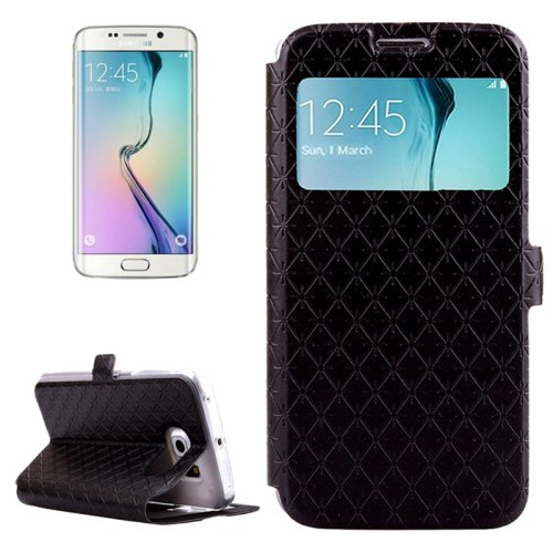 For Galaxy S6 Edge Black Diamond Leather Case with Card Slots, Holder & Call ID