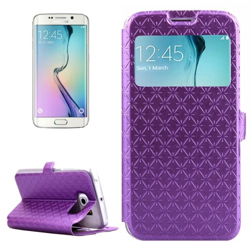 For Galaxy S6 Edge Purple Diamond Leather Case with Card Slots, Holder & Call ID