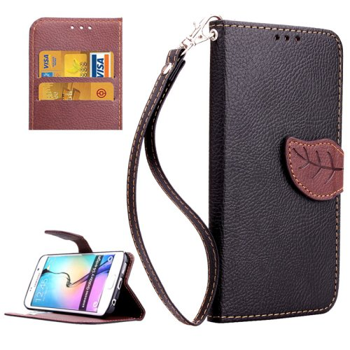 For Galaxy S6 Edge Black Leaf Leather Case with Card Slots, Holder & Lanyard