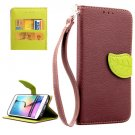 For Galaxy S6 Edge Brown Leaf Leather Case with Card Slots, Holder & Lanyard