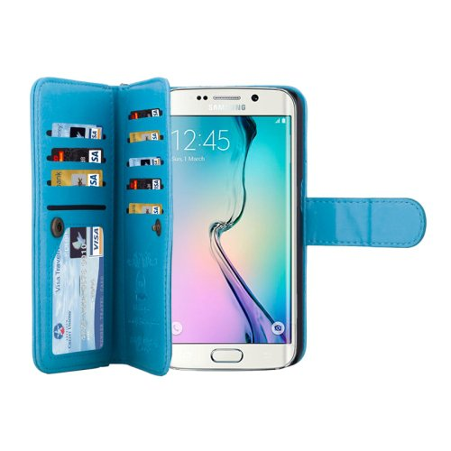 For Galaxy S6 Edge Blue Wallet Leather Case with 9 Card Slots & Lanyard