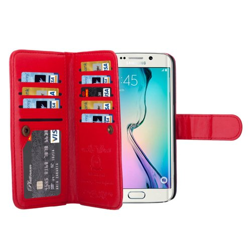 For Galaxy S6 Edge Red Wallet Leather Case with 9 Card Slots & Lanyard