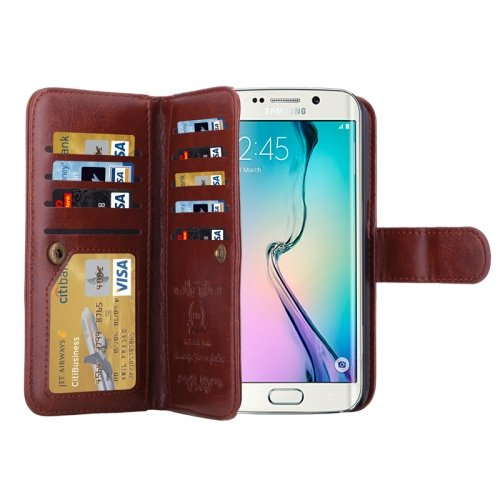 For Galaxy S6 Edge Brown Wallet Leather Case with 9 Card Slots & Lanyard
