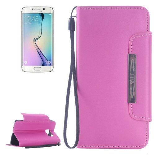 For Galaxy S6 Edge Pink Magnetic Frosted Case with Card Slots & Wallet