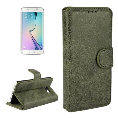 For Galaxy S6 Edge Army Green Frosted Leather Case with Card Slots & Wallet