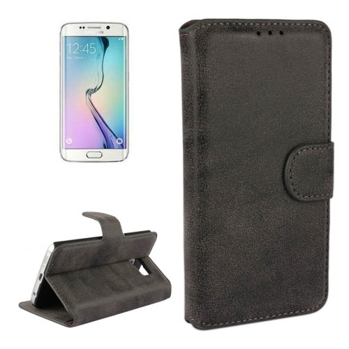 For Galaxy S6 Edge Black Frosted Leather Case with Card Slots & Wallet