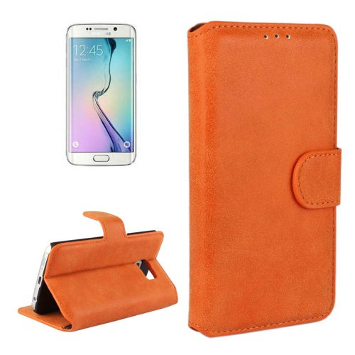 For Galaxy S6 Edge Orange Frosted Leather Case with Card Slots & Wallet