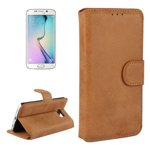 For Galaxy S6 Edge Brown Frosted Leather Case with Card Slots & Wallet