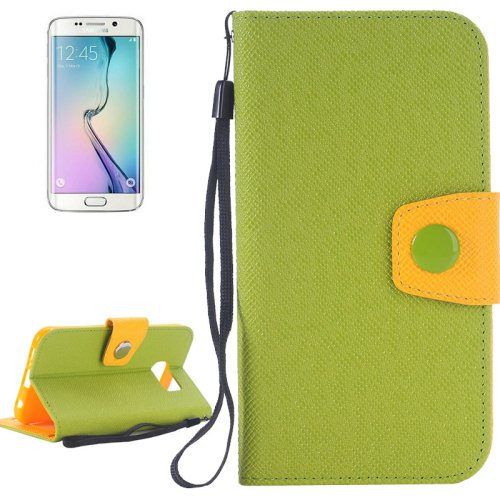 For Galaxy S6 Edge Green Grain Magnetic Leather Case with Card Slots & Wallet