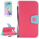 For Galaxy S6 Edge Magenta Grain Magnetic Leather Case with Card Slots & Wallet