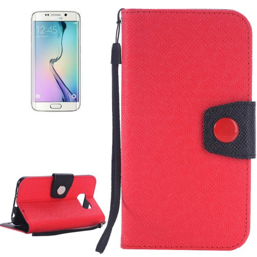 For Galaxy S6 Edge Red Grain Magnetic Leather Case with Card Slots & Wallet