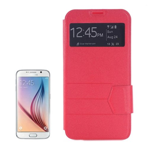 For Galaxy S6 Edge Red Frosted Leather Case with Call Display ID & Holder