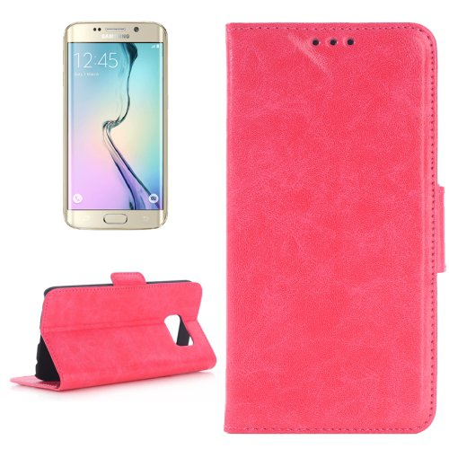 For Galaxy S6 Edge Oil Skin Magenta Leather Case with Holder & Card Slots