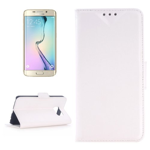 For Galaxy S6 Edge Oil Skin White Leather Case with Holder & Card Slots