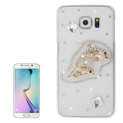 For Galaxy S6 Edge Diamond Encrusted Fishes Pattern Protective Case