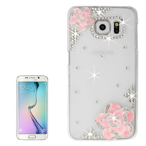 For Galaxy S6 Edge Diamond Encrusted Rose Pattern Protective Case