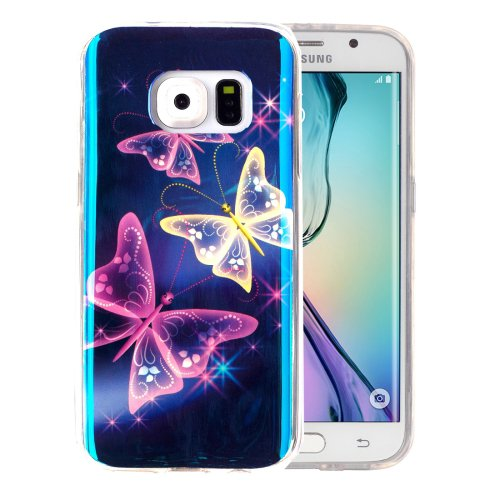 For Galaxy S6 Edge Crystal Butterfly Pattern Blu-ray Soft TPU Protective Case