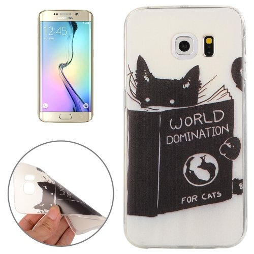 For Galaxy S6 Edge Black Cat Pattern TPU Protective Case