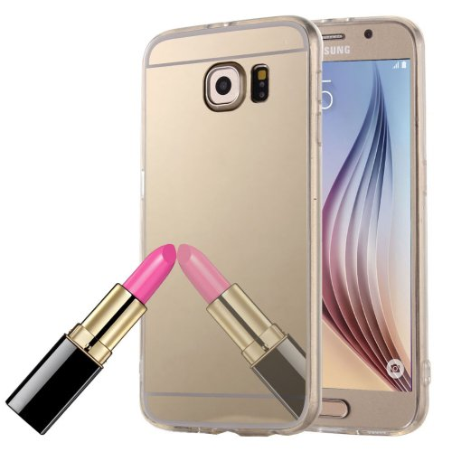 For Galaxy S6 Edge Gold Electroplating Mirror TPU Protective Case