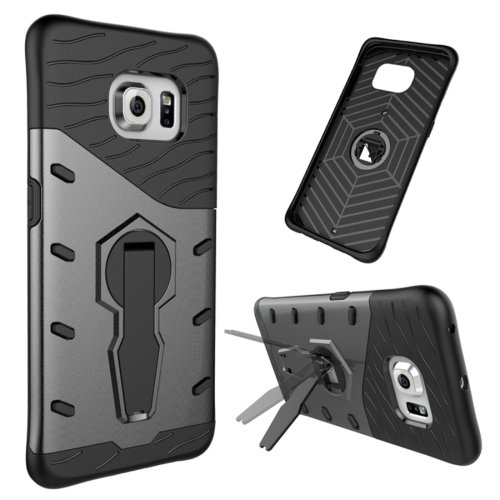 For Galaxy S6 Edge Black Tough Armor Rotating Combination Case with Holder