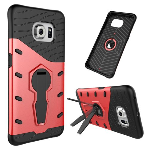 For Galaxy S6 Edge Red Tough Armor Rotating Combination Case with Holder