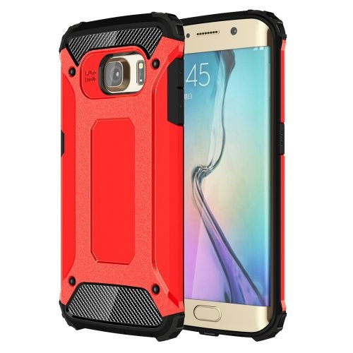 For Galaxy S6 Edge Red Tough Armor TPU + PC Combination Case