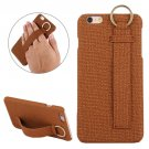For iPhone 6/6s Coffee Denim Leather Case with Holder, Ring & Elastic Hand Strap