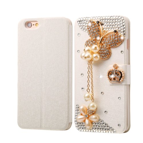 For iPhone 6/6s Diamond Pearl Leather Case with Magnetic Buckle, Card Slots