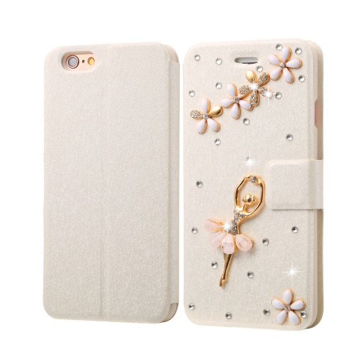 For iPhone 6/6s Diamond Dancing Leather Case with Magnetic Buckle, Card Slots