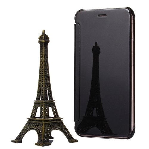 For iPhone 6/6s Black Electroplating Mirror Flip PC + Leather Protective Case