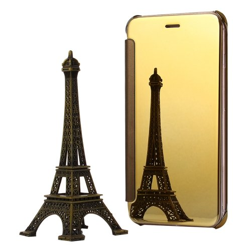For iPhone 6/6s Gold Electroplating Mirror Flip PC + Leather Protective Case