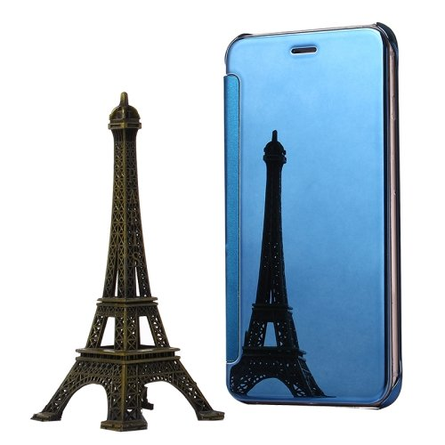 For iPhone 6/6s Blue Electroplating Mirror Flip PC + Leather Protective Case