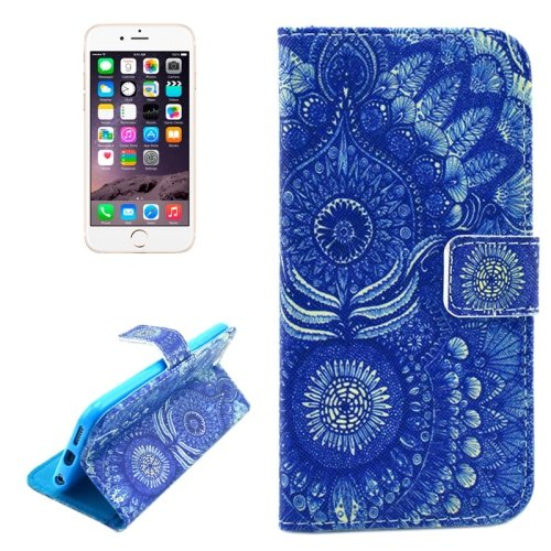 For iPhone 6/6s Flowers Pattern Leather Case with Holder, Wallet & Card Slots