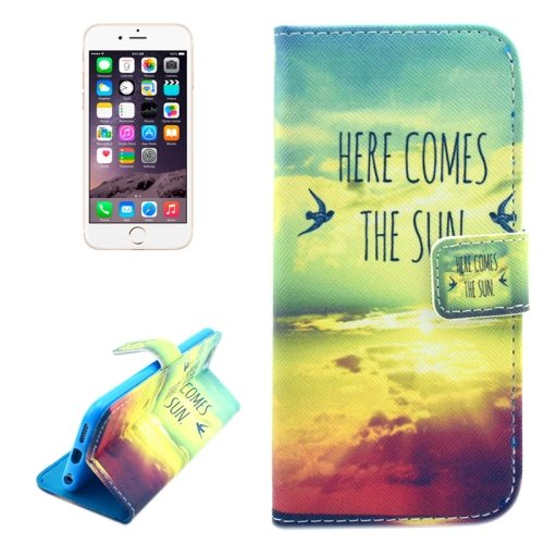 For iPhone 6/6s Sun Pattern Leather Case with Holder, Wallet & Card Slots