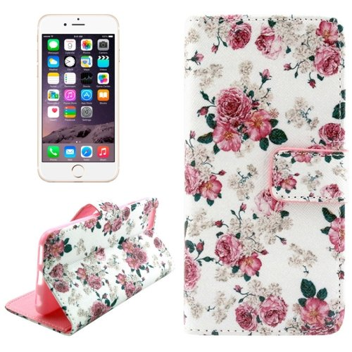 For iPhone 6/6s Cross Flower Leather Case with Holder, Wallet & Card Slots