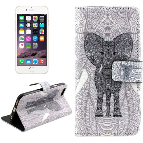 For iPhone 6/6s Cross Elephant Leather Case with Holder, Wallet & Card Slots